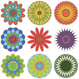 Set of abstract geometric ornament in color Stock Images
