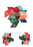 Set of abstract geometric paper graphic layouts. Business presentations, backgrounds, option infographics or banner templates Stock Images
