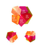 Set of abstract geometric paper graphic layouts. Business presentations, backgrounds, option infographics or banner templates Royalty Free Stock Image