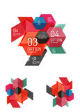 Set of abstract geometric paper graphic layouts. Business presentations, backgrounds, option infographics or banner templates Royalty Free Stock Photos