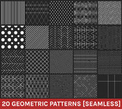 Set of 20 abstract geometric patterns black background. Monochrome geometric ornaments. Set of geometric vector seamless patterns vector illustration