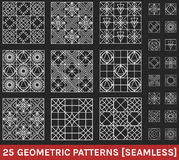 Set of 25 abstract geometric patterns black background. Monochrome geometric ornaments. Set of geometric vector seamless patterns Stock Photos