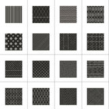 Set of 16 abstract geometric patterns. Classic black and white wallpaper. Vector illustration. Fantasy background with geometric shapes. Zigzag, chevron, polka Stock Photos