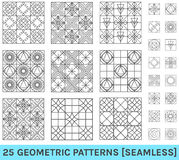 Set of 25 abstract geometric patterns zz background Royalty Free Stock Image