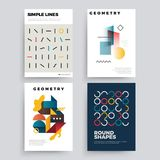 Set of abstract geometric 80`s posters with simple shapes and retro colors. Set of abstract geometric 80`s posters with simple shapes and retro colors stock illustration