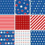 Set of 9 abstract geometric seamless pattern with stars and stri Stock Photos