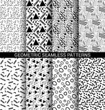 Set of abstract geometric seamless patterns. Back and white Royalty Free Stock Photo