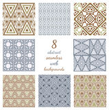 Set Of Abstract Geometric Seamless Web Backgrounds. Collection of 8 arabic style repeatable backdrops. Different geometric ornaments. Upholstery textures Royalty Free Stock Photography