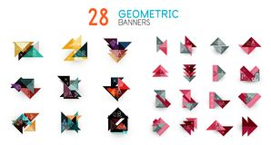 Set of abstract geometric shapes and icons. Vector illustration Royalty Free Stock Photography