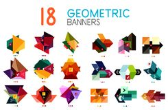 Set of abstract geometric shapes and icons. Vector illustration Stock Image