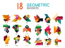Set of abstract geometric shapes and icons. Vector illustration Royalty Free Stock Photos