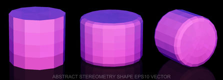 Set of Abstract geometry shape: Pink Cylinder. 3D polygonal objects, EPS 10, . Set of Abstract geometry shape: low poly Pink Cylinder. 3D polygonal objects, EPS Stock Images