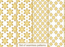 Set abstract gold flowers seamless pattern. Vector pattern royalty free illustration