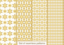 Set abstract gold flowers seamless pattern. Vector pattern for d Stock Photo