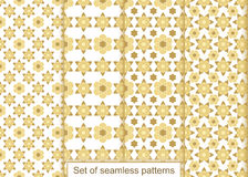 Set abstract gold flowers seamless pattern. Vector pattern for d Stock Image