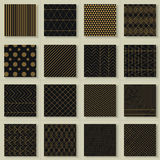 Set of 16 abstract gold geometric patterns Stock Image