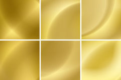 Set of abstract gold neon vector backgrounds Stock Photography