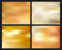 Set of abstract golden blurred background. Creative concept elements royalty free illustration