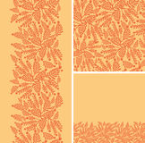 Set of abstract golden plants seamless pattern and Stock Image