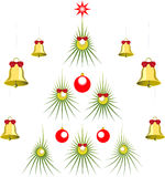 Set of abstract green Christmas tree with balls Stock Images