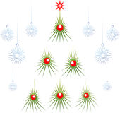 Set of abstract green Christmas tree with red Stock Image
