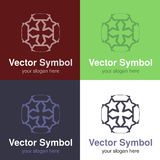 Set of abstract green, red, blue and black white logo design of Cristian cross, emblems for a religious group - circles, rounded  Royalty Free Stock Photography