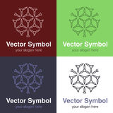 Set of abstract green, red, blue and black white logo design, line emblems for various centers - circles, rounded symbols Stock Images