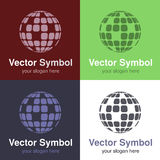 Set of abstract green, red, blue and black white logo globe design, emblems for internet connection or web - circles, rounded  Royalty Free Stock Images