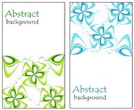 Set of abstract greeting cards with flowers pink and blue. On a white background vector illustration