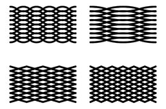 Set of 4 abstract grid elements. Curved lines mesh Stock Image