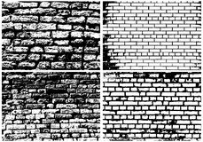 Set of Abstract Grunge Brick Wall. Backgrounds in Black and White Colors. High Detailed. Ideal for Creating Musical, Autumn, Nature and Other Designs. Vector Royalty Free Stock Photography