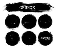 Set of abstract grunge circle shapes . Vector.  Stock Photo