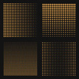 Set of abstract halftone backgrounds. Brown color dots on black Royalty Free Stock Image