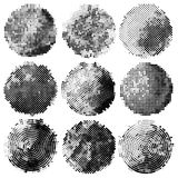 Set of abstract halftone black circles. Design elements. Vector illustration Stock Photo