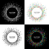 Set of  Abstract Halftone Circle Frames Stock Images