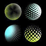 Set abstract halftone 3D spheres_2. Set abstract halftone 3D spheres. Dotted spot vector design elements Royalty Free Stock Images