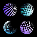 Set abstract halftone 3D spheres_3. Set abstract halftone 3D spheres. Dotted spot vector design elements Royalty Free Stock Photo