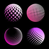 Set abstract halftone 3D spheres_4. Set abstract halftone 3D spheres. Dotted spot vector design elements Royalty Free Stock Photography