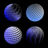 Set abstract halftone 3D spheres_1. Set abstract halftone 3D spheres. Dotted spot vector design elements Stock Image