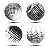 Set abstract halftone 3D spheres_22. Set abstract halftone 3D spheres. Dotted spot vector design elements Royalty Free Stock Photos