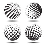 Set abstract halftone 3D spheres_24. Set abstract halftone 3D spheres. Dotted spot vector design elements Royalty Free Stock Photos