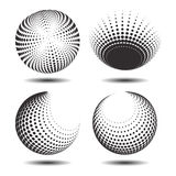 Set abstract halftone 3D spheres_23. Set abstract halftone 3D spheres. Dotted spot vector design elements Stock Image