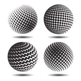 Set abstract halftone 3D spheres_25. Set abstract halftone 3D spheres. Dotted spot vector design elements Stock Image