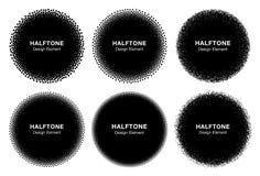 Set of  6  Abstract  Halftone Dots Circles. Stock Photography