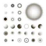 Set of abstract halftone isolated circular texture Stock Image