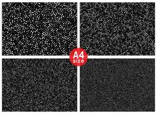 Set of Abstract halftone random dots vector horizontal pattern texture backgrounds. A4 paper size, vector illustration.  vector illustration