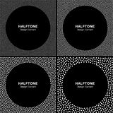 Set of Abstract Halftone White Dots Frames on Black Background. Stock Photography