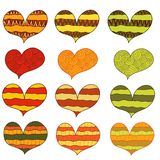 Set of 12 abstract colorful warm hearts with ornament stock illustration