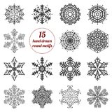 Set of abstract hand drawn round design elements, Royalty Free Stock Image
