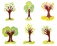 A set of abstract hand-trees. Vector illustrations -- set of abstract hand-trees Stock Images